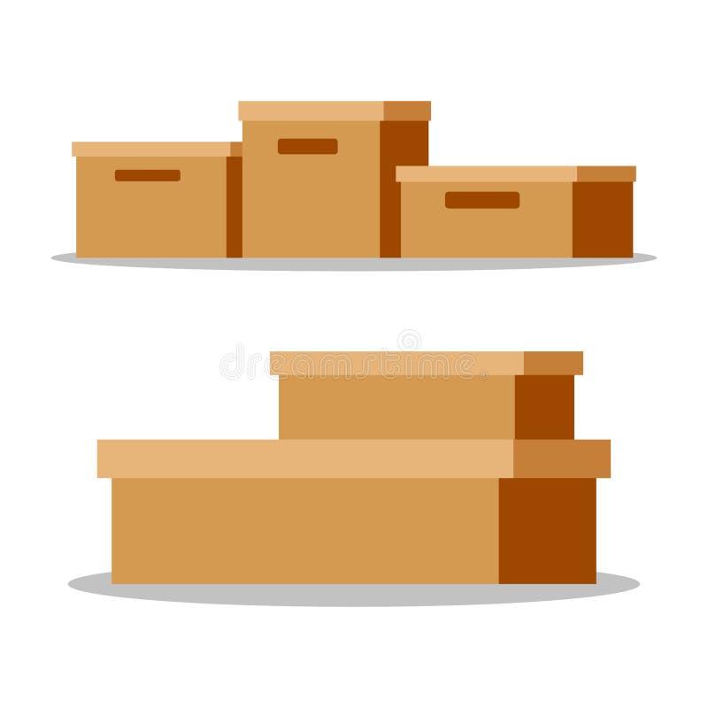 Ställ in av tomma stängda bruna pappers- kartonger stock illustrationer