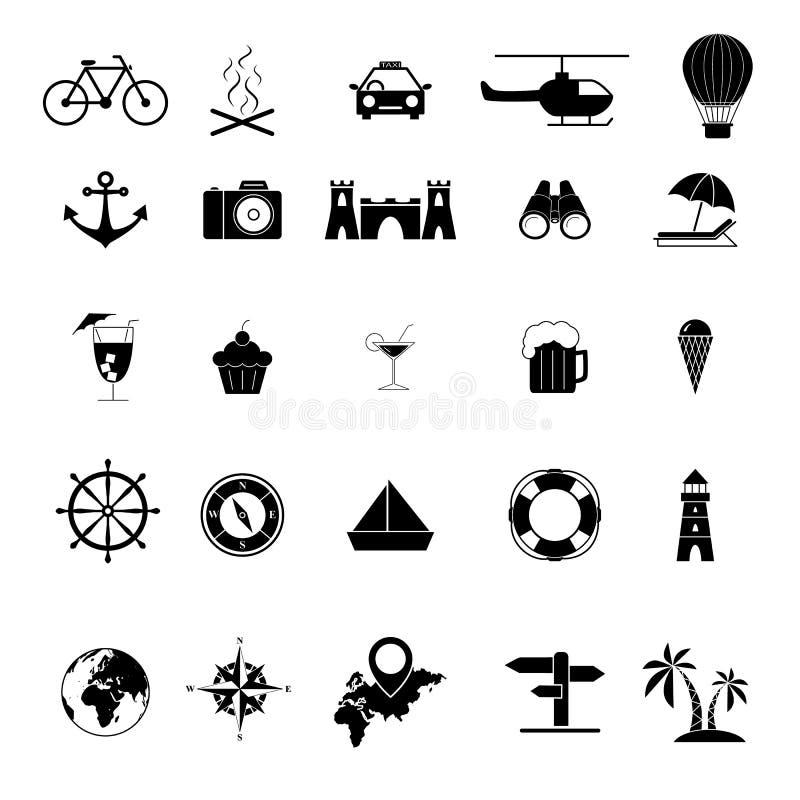 Ställ in av Tour och lopptur för översiktssymboler royaltyfri illustrationer
