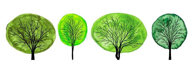 Ställ in av träd med grön vattenfärglövverk som isoleras på vit bac vektor illustrationer