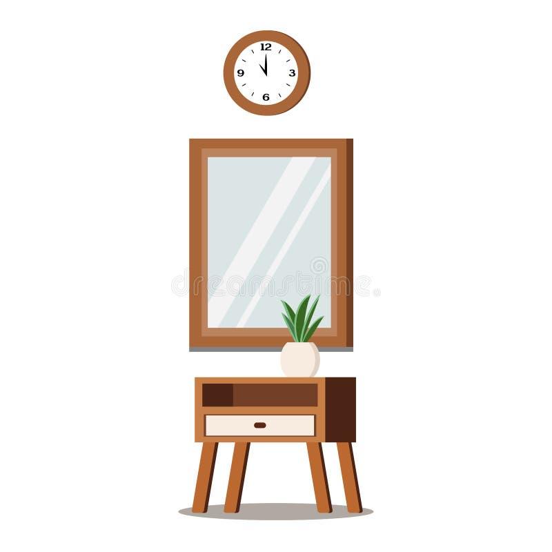 Ställ in av trämöblemang för hemmiljödesign stock illustrationer