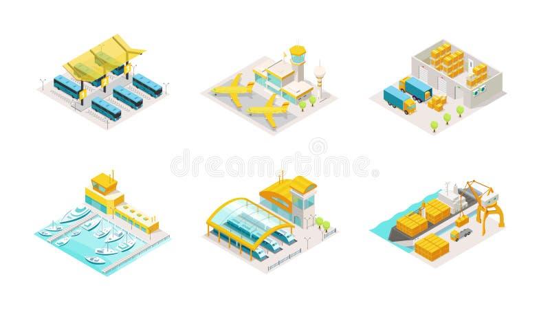 Ställ in av trans. isometriskt Bussstation, flygplanflygplats, hemsändninglager och lastbil Sändning vid havet stock illustrationer