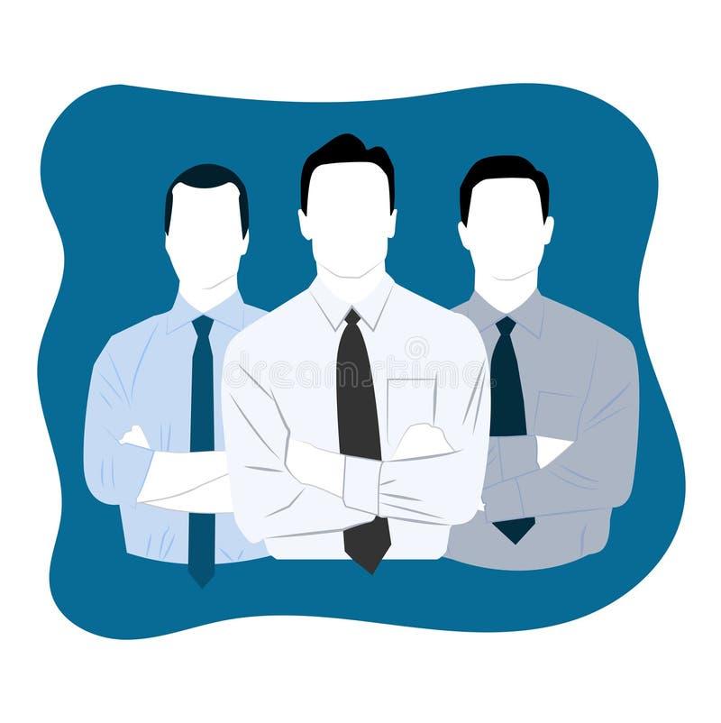 Ställ in av tre män i dräkter på en blå bakgrund stock illustrationer