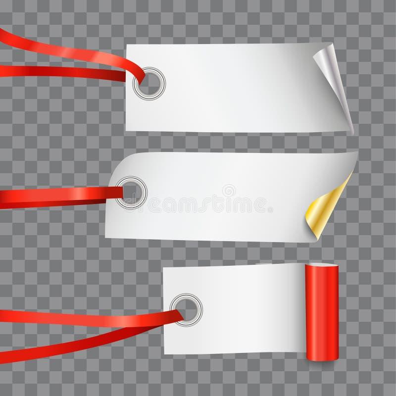 Ställ in av tre realistiska dekorativa tomma etiketter eller etiketter på bandrad på genomskinlig bakgrund stock illustrationer