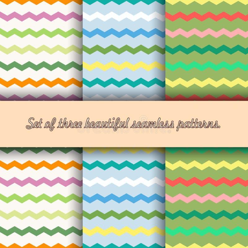 Ställ in av tre sömlösa modeller av flerfärgade brutna linjer, sicksack, på linne, blått ljus -, olivgrön bakgrund, vektor stock illustrationer