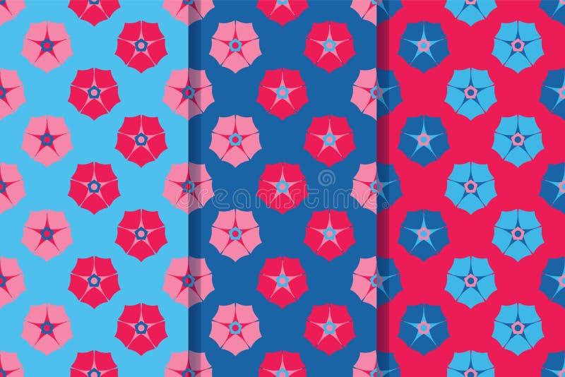 Ställ in av tre sömlösa modeller med mångfärgade blommor i en stil Färgrik illustration, eps10 royaltyfri illustrationer