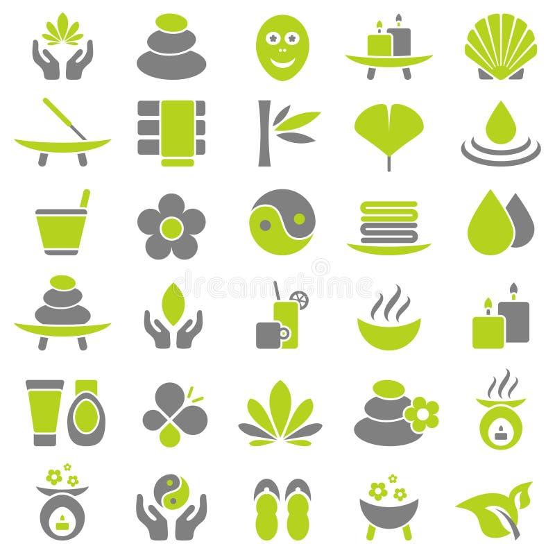 Ställ in av trettio Wellnesssymboler gräsplan och grå färger vektor illustrationer
