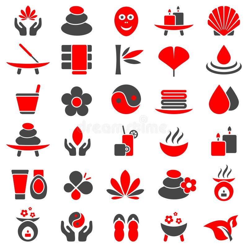 Ställ in av trettio Wellnesssymboler rött och grått stock illustrationer