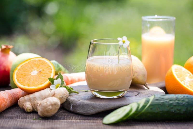 Ställ in av tropiska frukter färgrik och ny sommar, många sunda foods mogen frukt blandad på grön naturlig bakgrund royaltyfria foton
