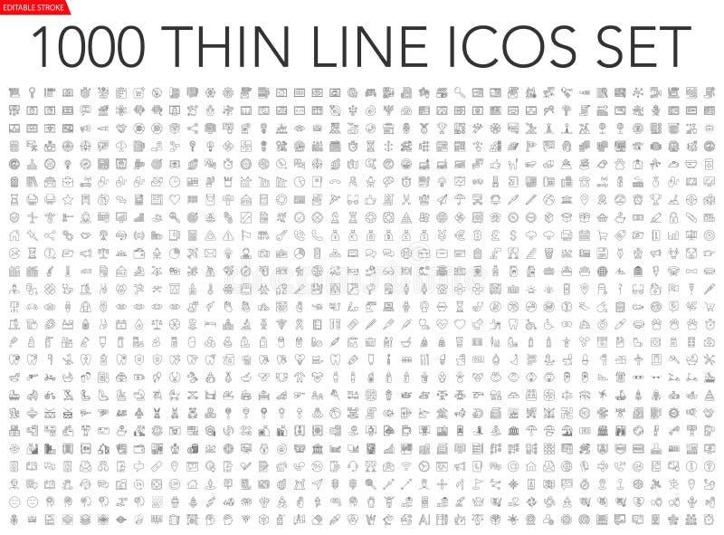Ställ in av 1000 tunn linje symboler royaltyfri illustrationer