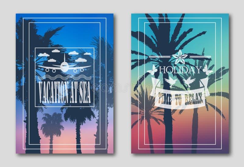 Ställ in av två affischer, konturer av palmträd mot himlen Logo från nivån, moln, fjärilar vektor illustrationer