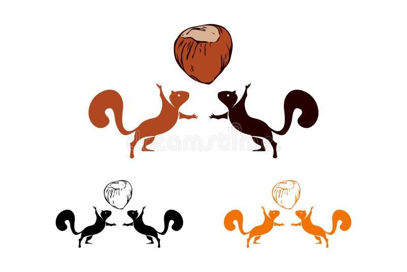 Ställ in av två vektorekorrekonturer och hasselnöt som isoleras på vit bakgrund Logoen ställde in av ekorrar med muttrar stock illustrationer