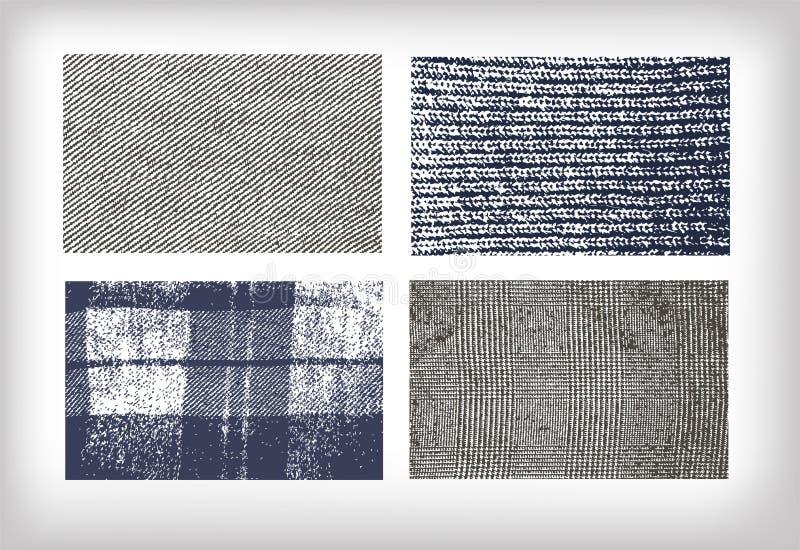 Ställ in av tweed för texturtorkdukejeans stock illustrationer