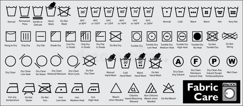Ställ in av tygomsorg eller tvättande symboler eller tvätterisymboler stock illustrationer