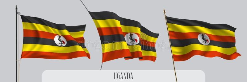 Ställ in av Uganda den vinkande flaggan på isolerad bakgrundsvektorillustration royaltyfri illustrationer