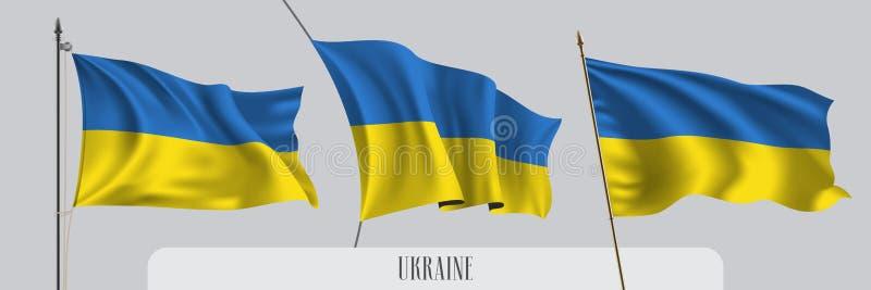 Ställ in av Ukraina den vinkande flaggan på isolerad bakgrundsvektorillustration royaltyfri illustrationer