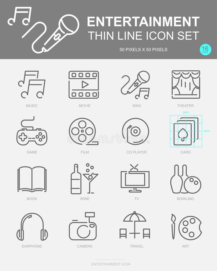 Ställ in av underhållningvektorlinjen symboler Inkluderar musik, film, sjunger, spelar och mer vektor illustrationer