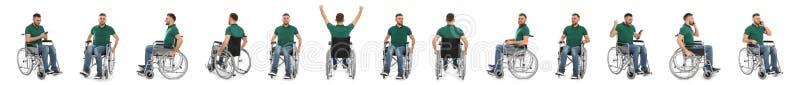 Ställ in av ung man i rullstol på vit Banerdesign arkivbilder