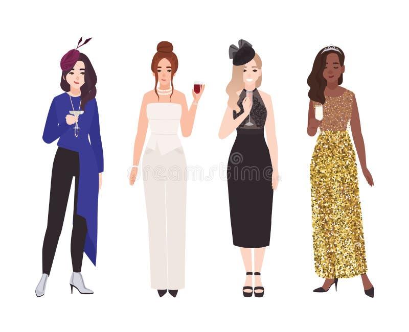 Ställ in av unga kvinnor i utsmyckade aftondräkter som isoleras på vit bakgrund Packe av elegant påklädd för kvinnliga tecken royaltyfri illustrationer