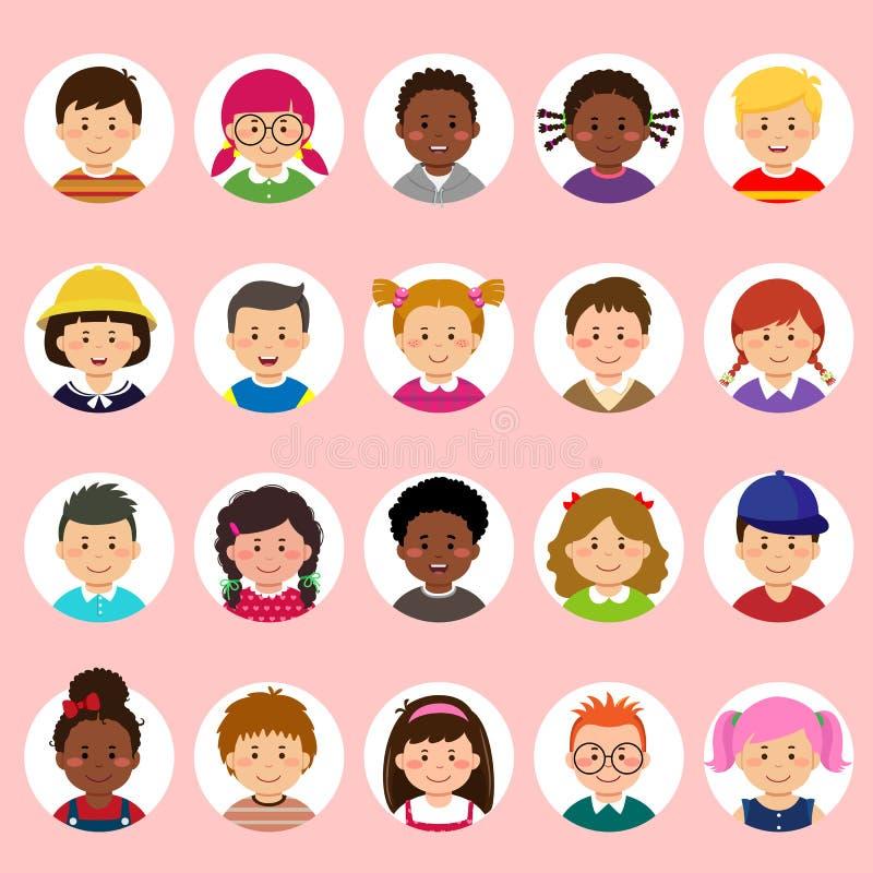 Ställ in av ungeframsidor, avatars, olik nationalitet för barnhuvud i plan stil vektor illustrationer