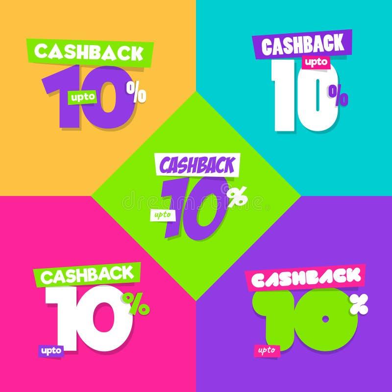 Ställ in av upp till 10% Cashback - olik suppleant 5 royaltyfri illustrationer