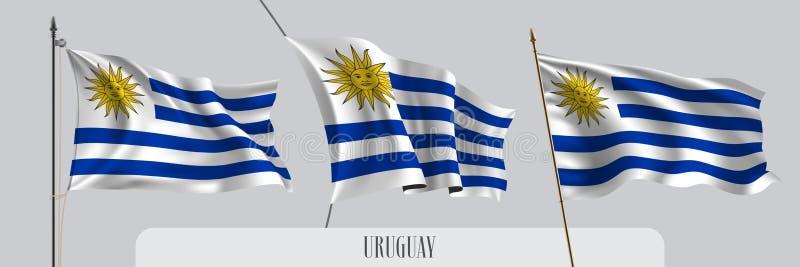 Ställ in av Uruguay den vinkande flaggan på isolerad bakgrundsvektorillustration royaltyfri illustrationer