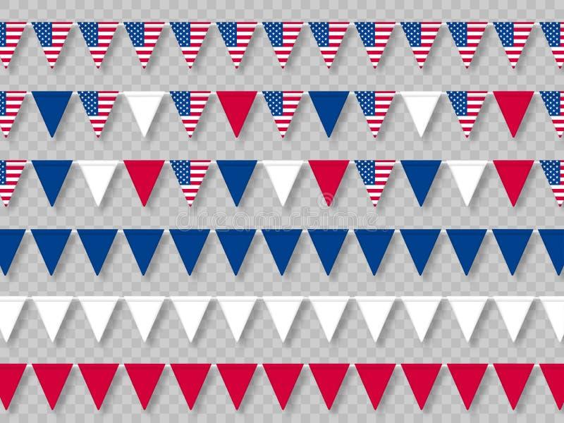 Ställ in av USA bunting flaggor i traditionella färger vektor illustrationer