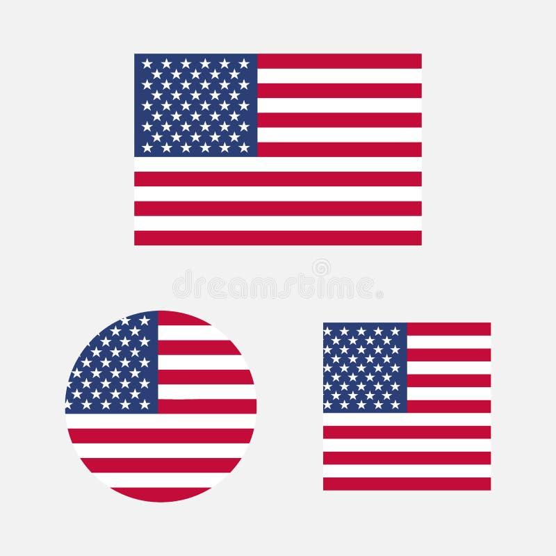 Ställ in av USA flaggor i olika former royaltyfri illustrationer