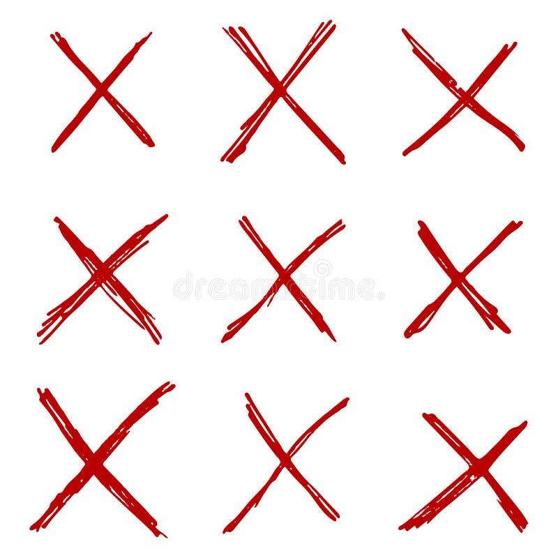 Ställ in av utdragen grungebokstav X för handen på vit bakgrund royaltyfri illustrationer