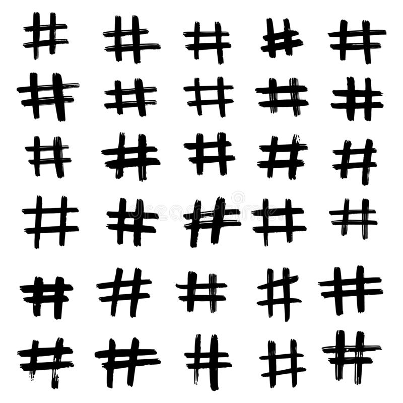 Ställ in av utdragen hashtag för olik hand Pölsaetikettsbakgrund stock illustrationer