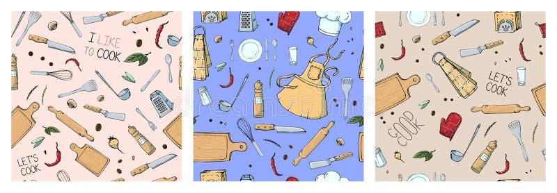 Ställ in av utdragen sömlös modell för hand med köksgeråd royaltyfri illustrationer