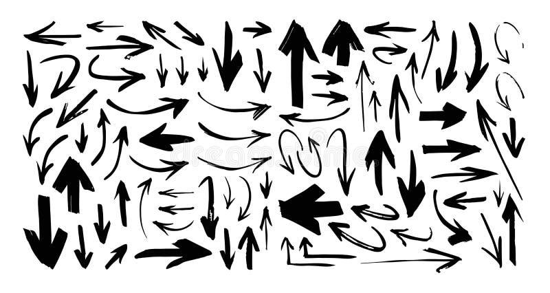 Ställ in av utdraget svart målarfärgobjekt för handen för designbruk Abstrakt borsteteckning Pilar för grunge för vektorkonstillu stock illustrationer