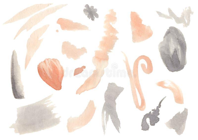 Ställ in av utdragna abstrakta fläckar för vattenfärghand royaltyfri illustrationer