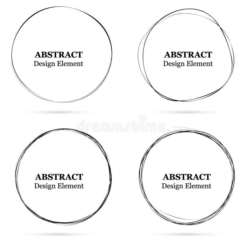 Ställ in av utdragna cirklar för den abstrakta handen för din design Klottra cir vektor illustrationer