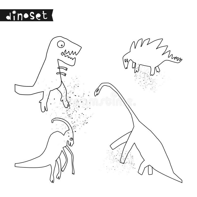 Ställ in av utdragna dinosaurier för hand Skissa Jurassic reptilar Samling av den roliga klottertecknade filmen dino stock illustrationer