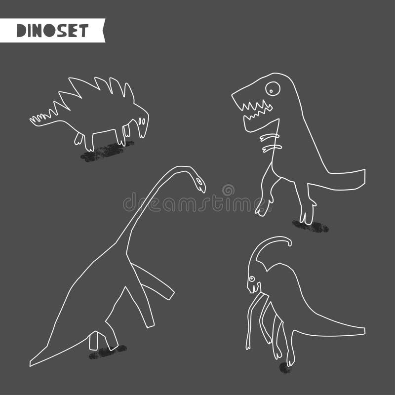 Ställ in av utdragna dinosaurier för hand Skissa Jurassic reptilar Samling av den roliga klottertecknade filmen dino royaltyfri illustrationer