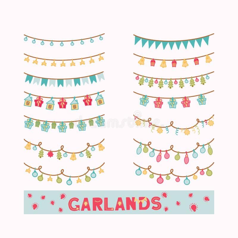Ställ in av utdragna girlander för handen Julljus för garnering på beige bakgrund Stjärnor, julgranar, klockor, gåvor och kulor V royaltyfri illustrationer