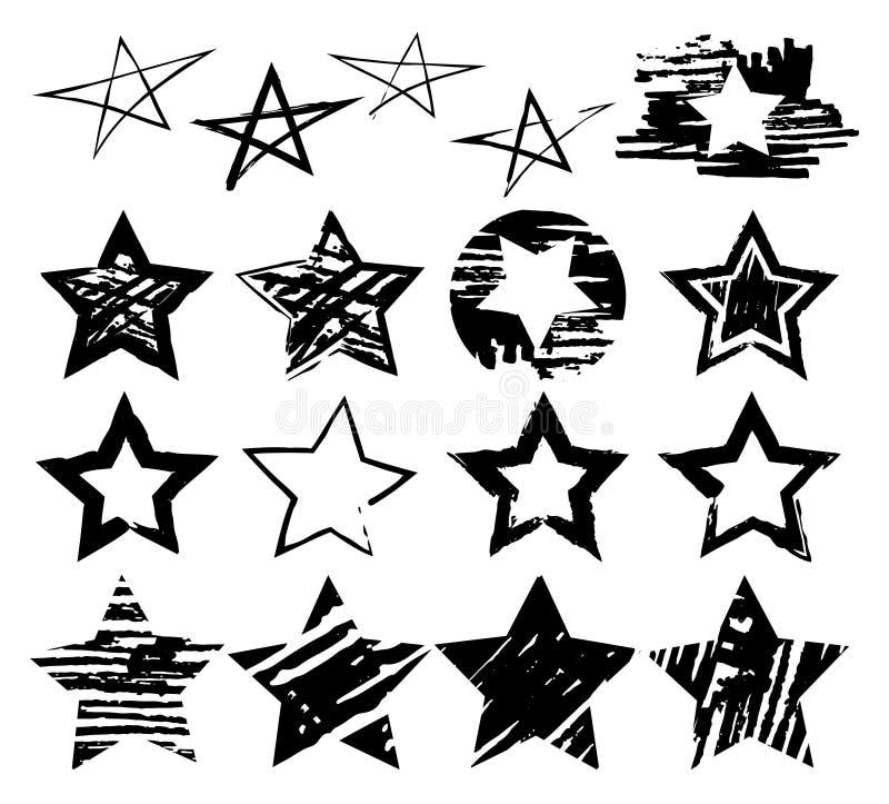 Ställ in av utdragna grungehjärtor för handen för designbruk Svart skissar beståndsdelar på vit bakgrund Abstrakt borste, färgpul royaltyfri illustrationer
