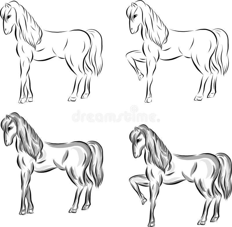 Ställ in av utdragna hästar för vektor vektor illustrationer