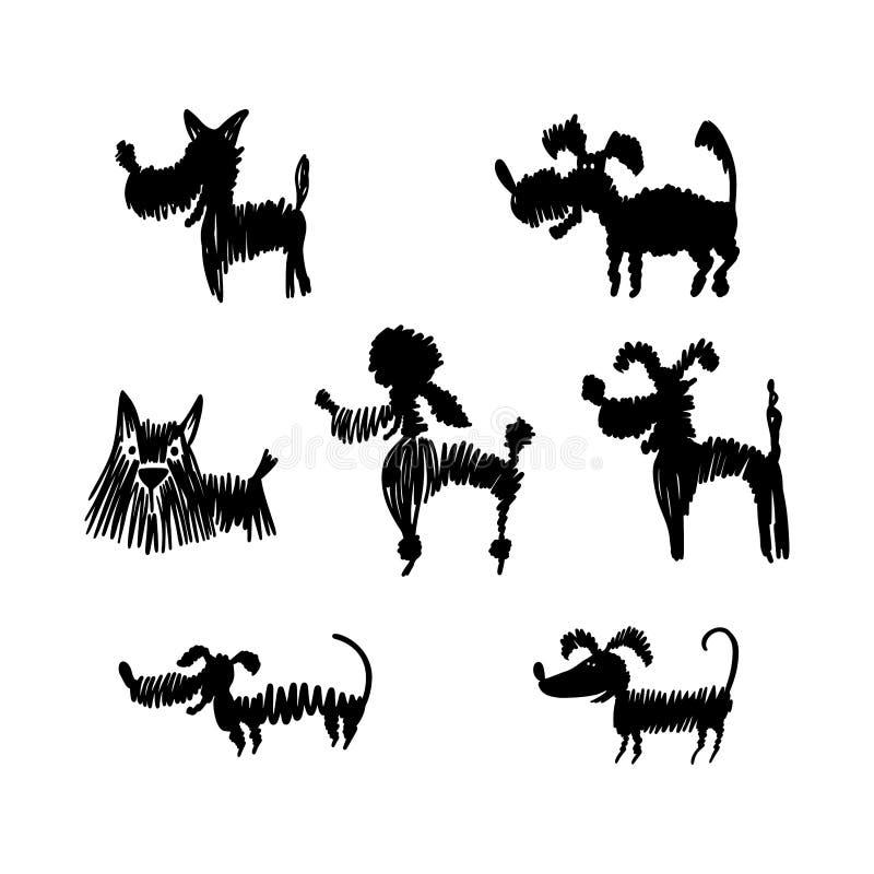 Ställ in av utdragna hundkonturer för hand royaltyfri illustrationer