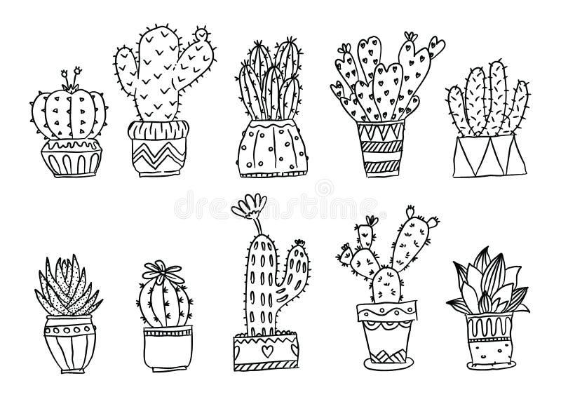 Ställ in av utdragna kaktusväxter för handen i krukor stock illustrationer