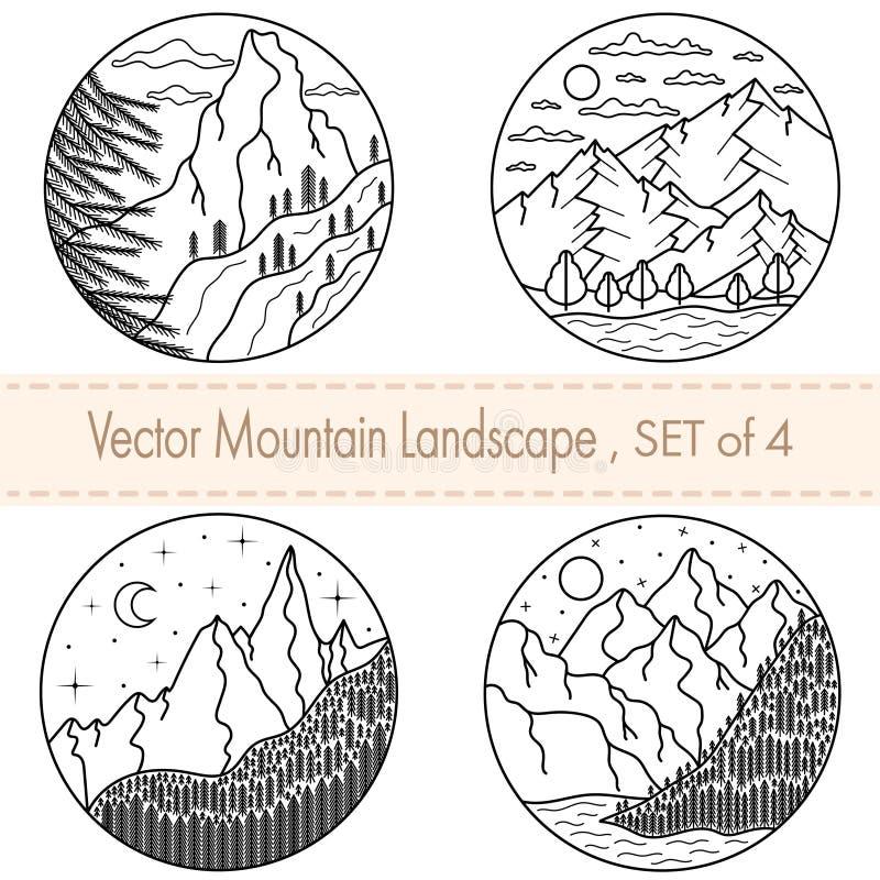 Ställ in av 4 utdragna svartvita illustrationer för hand Berglandskap med lock, moln, flod, måne stock illustrationer