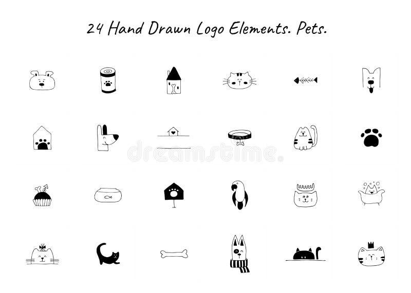 Ställ in av utdragna symboler för vektorhanden, tamdjur Logobeståndsdelar för släkt affär för husdjur royaltyfri illustrationer