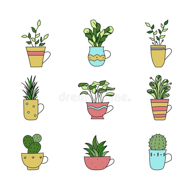 Ställ in av utdragna växter för handen i kopp Drawning växter för tecknad filmhand V vektor illustrationer