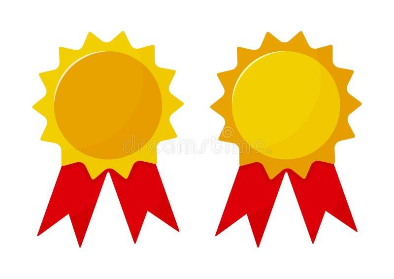 Ställ in av utmärkelsemedaljer med bandet också vektor för coreldrawillustration stock illustrationer