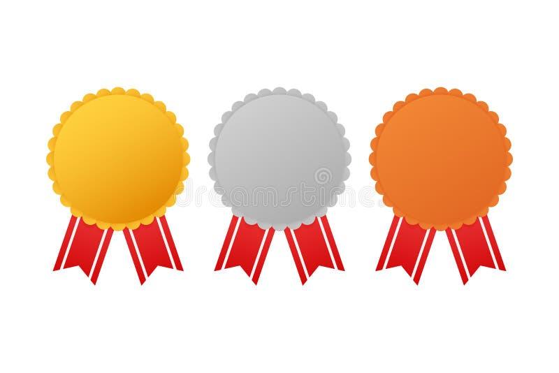 Ställ in av utmärkelsemedaljer med det röda bandet Guld, silver och brons också vektor för coreldrawillustration vektor illustrationer
