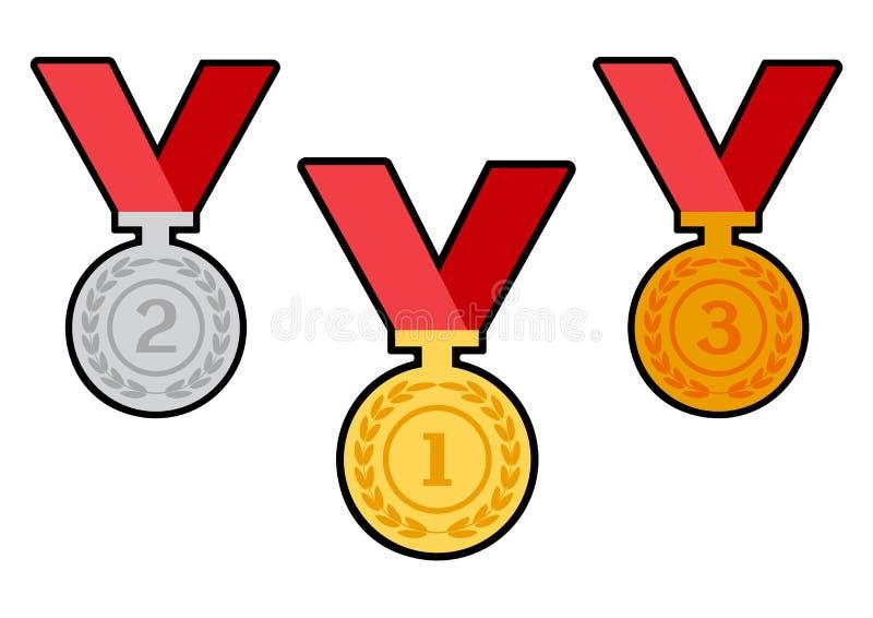 Ställ in av utmärkelsemedaljer med röda band vektor royaltyfri illustrationer
