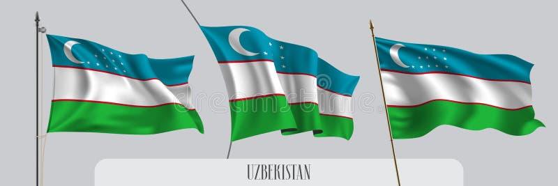 Ställ in av Uzbekistan den vinkande flaggan på isolerad bakgrundsvektorillustration royaltyfri illustrationer