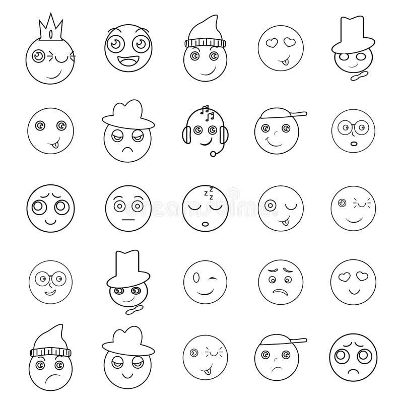 Ställ in av vänligt roligt leende för emojisymboler stock illustrationer