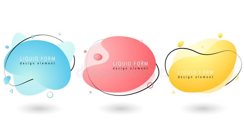 Ställ in av vätskegeometriska former för pastellfärgad färg V?tskelutningbest?ndsdelar vektor illustrationer