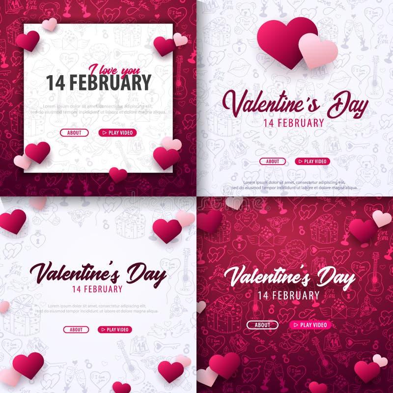 Ställ in av valentindagbaner med klotterbakgrund 14 Februari också vektor för coreldrawillustration royaltyfri illustrationer